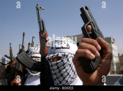 Palestinian Hamas supporters display a show of force at a protest in Gaza Monday October 16 2000 Many Palestinians - Stock Photo