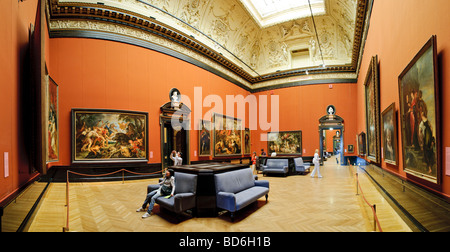 Gallery of paintings in Kunsthistoriches Museum, Vienna, Austria. Panorama - Stock Photo