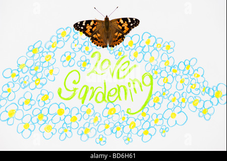 Painted lady butterfly on love gardening and flowers drawing - Stock Photo