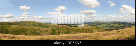 Panoramic view of the Shropshire Hills from the Long Mynd looking towards Caer Caradoc and The Lawley - Stock Photo