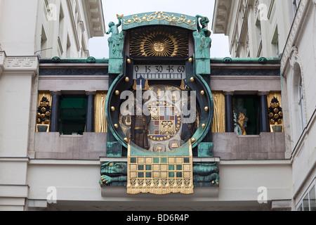 Anker Clock, Hoher Markt, Vienna, Austria - Stock Photo