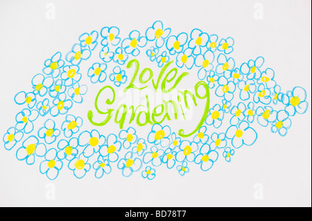 Love gardening and flowers, child's drawing - Stock Photo