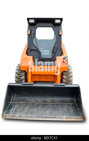 Orange mini [bobcat] wheel excavator with bucket beam isolated over white. With clipping path. Close up - Stock Photo