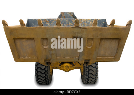 Yellow wheel excavator with bucket beam isolated over white. With clipping path. Close up - Stock Photo