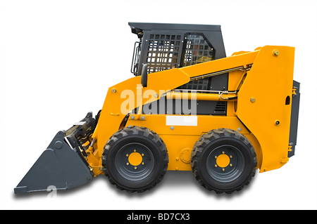 Yellow mini [bobcat] wheel excavator with bucket beam isolated over white. With clipping path. Close up - Stock Photo