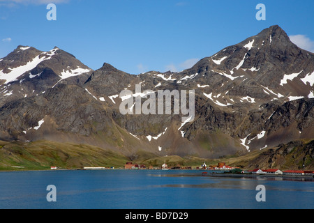 Old ruined whaling station Grytviken town South Georgia Antarctica - Stock Photo