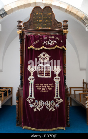 An old Torah Ark closet which contains the Jewish Torah scrolls at the Middle synagogue in 'Four Sephardic Synagogues' - Stock Photo