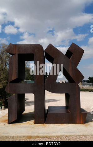 Ahava ( Love ) sculpture by Robert Indiana 1977 depicting Hebrew letters forming that word in Billy Rose sculpture - Stock Photo