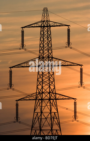 Power Station Electricity Pylons - Stock Photo