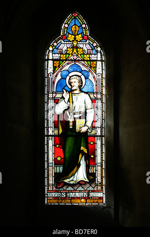 A Stained Glass Window depicting Saint Mark - Stock Photo