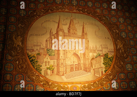 tapestry with church image inside Saint Pierre church in Avignon Provence France Europe - Stock Photo