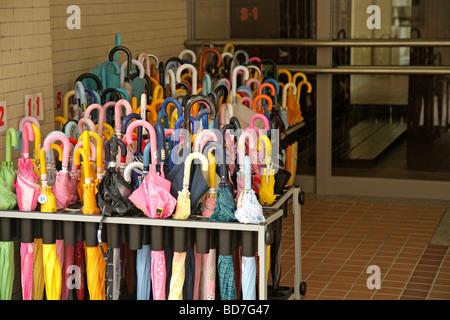 Kyoto. Kansai. Japan. Umbrellas in a primary school - Stock Photo