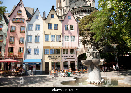 Gross St Martin Church Rheingarten Altstadt Historic Old Town Cologne Germany - Stock Photo