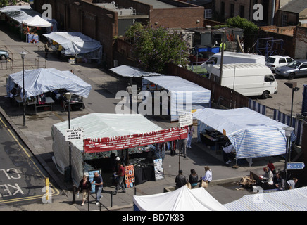 Aerial view of street market Hosier street Reading Berkshire July 2009 - Stock Photo