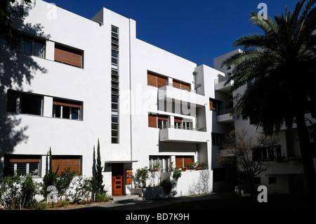 Bauhaus architecture style in Rothschild boulevard downtown Tel Aviv Israel - Stock Photo