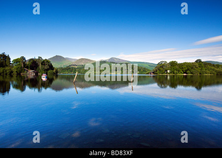 'Derwent Water' With 'Causey Pike' In The Distance, The Borrowdale Valley 'The Lake District' Cumbria England UK - Stock Photo