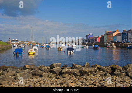 Aberaeron Harbour West Wales looking west out to sea on a nice day - Stock Photo