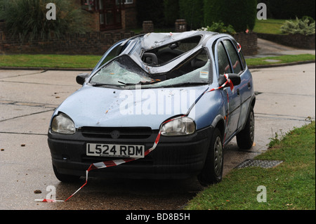 Damage done to a car after a tree fell on top of it after being struck by lightning during a severe sumer storm - Stock Photo