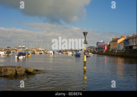 harbour off aberaeron West Wales taken from the bridge looking west out to sea - Stock Photo