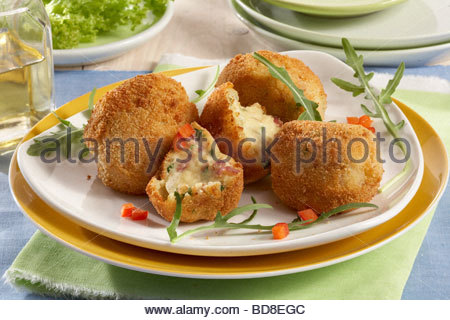 Potato Croquettes with Ham, Cheese and Spinach - Stock Photo
