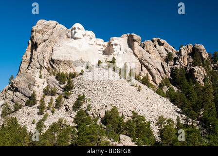 view of Mount Rushmore National Memorial from the visitors center - Stock Photo
