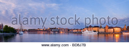 Panoramic view of the schooner Af Chapman, and the old town of Stockholm, Sweden. - Stock Photo