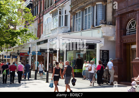 Shoppers on Lord Street in Southport Town centre, Merseyside, UK - Stock Photo
