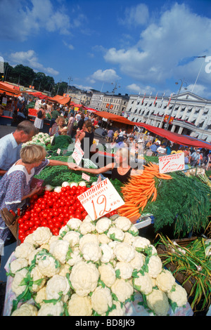 Outdoor market place at Torghandel on South Harbor in Helsinki, Finland - Stock Photo