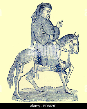 Chaucer as a Canterbury Pilgrim Illustration from Cassell s Illustrated Universal History by Edward Ollier 1890 - Stock Photo