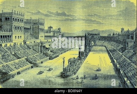 Ancient Arena restored Showing a Chariot Race Illustration from The Illustrated History of the World Ward Lock c - Stock Photo