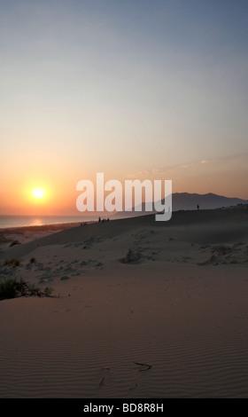 a sunset over the sand dunes on patara beach in turkey - Stock Photo
