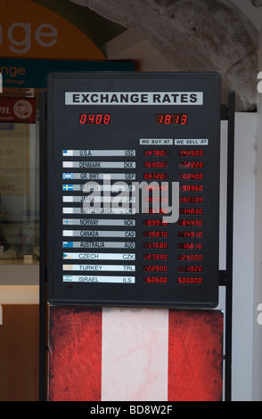 Euro currency exchange rates displayed on a board - Stock Photo