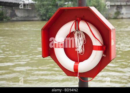 Lifebelt and holder - Stock Photo