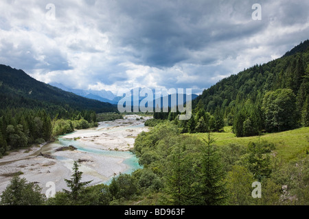 Germany landscape view along the River Isar in the Bavarian Alps, Bavaria, Germany, towards the Wetterstein mountains - Stock Photo