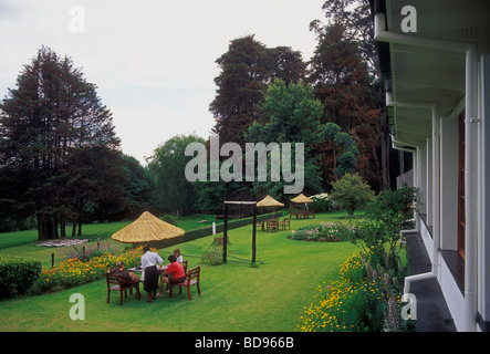 people, tourists, guests, tea time, garden, Rhodes Nyanga Hotel, former home of Cecil John Rhodes, Nyanga, Manicaland - Stock Photo