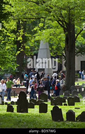 Tourists visit the GRANARY BURYING GROUND the third oldest cemetery in the United States BOSTON MASSACHUSETTS - Stock Photo