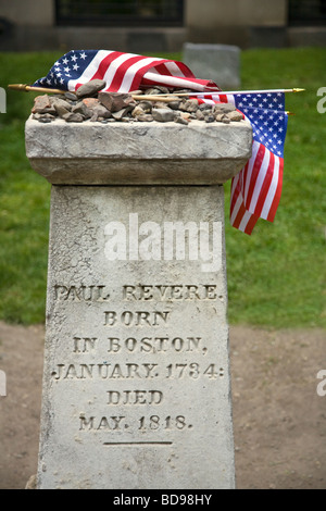 Grave of PAUL REVERE in the GRANARY BURYING GROUND BOSTON MASSACHUSETTS - Stock Photo