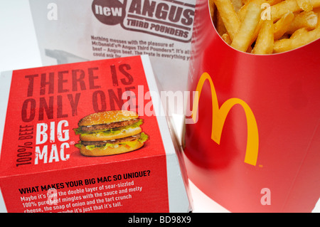 McDonald's Big Mac and french fries in packaging. - Stock Photo