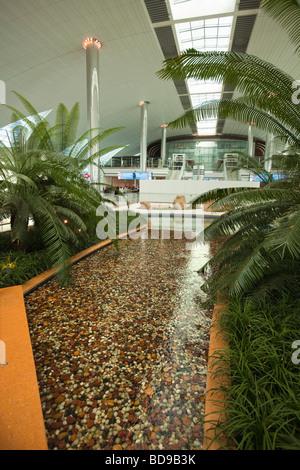 UAE Dubai Airport architectural detail Arab water garden in new ...