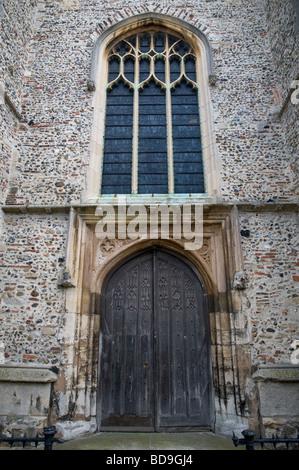 A doorway at All Saint Church Sudbury Suffolk England - Stock Photo