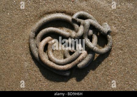 Spiral Lugworm Arenicola marina Cast At Crosby Beach, Merseyside, UK - Stock Photo