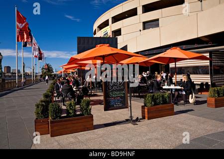 Melbourne Southbank / An outdoor Cafe / Bar in Melbourne`s Southbank Precinct.Melbourne Victoria Australia. - Stock Photo