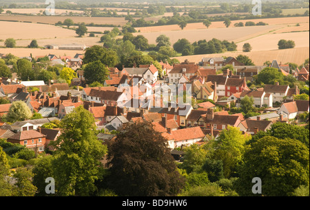 An aerial view of Lavenham in Suffolk, England. - Stock Photo