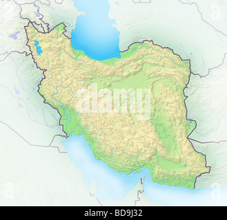 Iran, shaded relief map. - Stock Photo