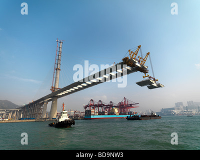 The construction of the Stonecutters Bridge in Hong Kong. - Stock Photo