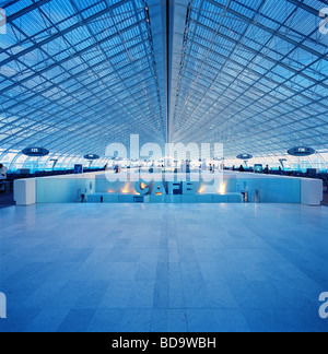 The F gates at Charles de Gaulle Airport in Paris Roissy, France - Stock Photo