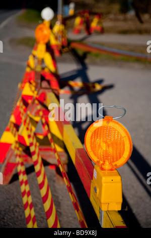 Warning light at roadworks site