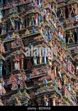 Close up of a Gopuram on a hindu temple, alagar kovil, north of Madurai, Tamil Nadu, South India - Stock Photo