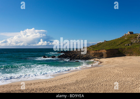 Late evening on Porthmeor beach in summer St Ives Cornwall England UK United Kingdom GB Great Britain British Isles - Stock Photo