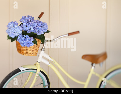 Bicycle with flowers in basket - Stock Photo